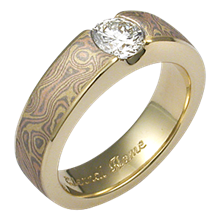 Trigold Mokume Flush Stone Solitaire Engagement Ring