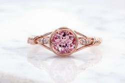 Peach lab sapphire in rose gold