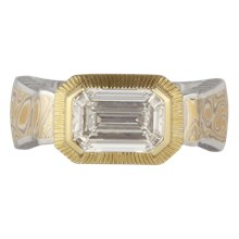 Native Mokume Mens Engagement Ring - top view