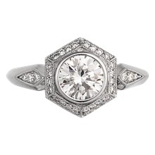 Vintage Art Deco Engagement Ring - top view