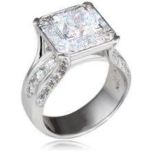 Juicy Style Princess Halo Engagement Ring