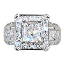 Juicy Style Princess Halo Engagement Ring - top view