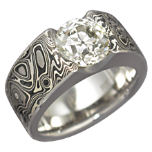 Mokume Flush Stone Solitaire with Darkened Mokume