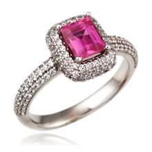 Pave Princess Halo Engagement Ring