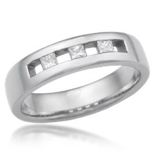 Channel Set Spaced Princess Wedding Band