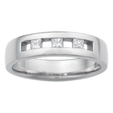 Channel Set Spaced Princess Wedding Band - top view