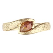Tree Bark Embrace Engagement Ring - top view
