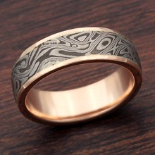 Darkened White Mokume and Rose Gold Wedding Band