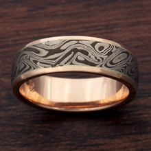 Darkened White Mokume and Rose Gold Wedding Band - top view
