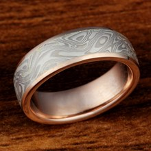 White Mokume Band with Rose Gold Liner Size 7.25