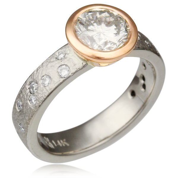 Rustic Bezel With Diamonds Engagement Ring