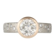 Rustic Bezel With Diamonds Engagement Ring - top view