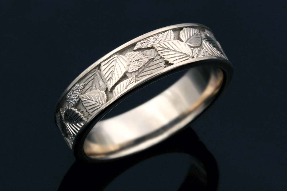 birch leaf wedding band in 14k - Leaf Wedding Ring