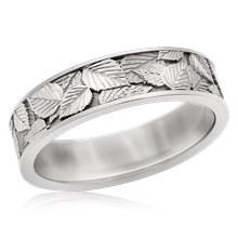 Birch Leaf Wedding Band