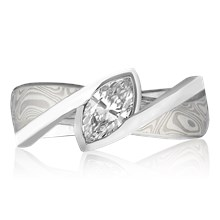 Mokume River Twist Engagement Ring - top view