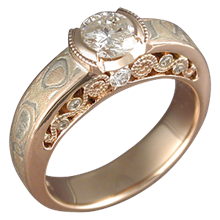 Mokume Curls Engagement Ring with Rose Gold Liner