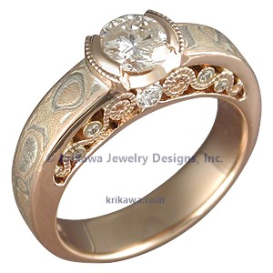 Unusual Mokume Gane Engagement Ring