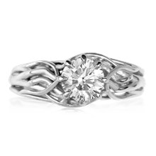Embracing Tree Branch Engagement Ring With Round Diamond - top view