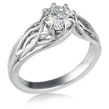 Embracing Tree Branch Engagement Ring With Round Diamond