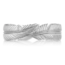 Feather Embrace Wedding Band - top view
