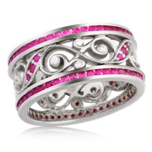 Double Diamond Infinity Leaf Wedding Band