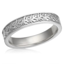 Narrow Oak Leaf Wedding Band