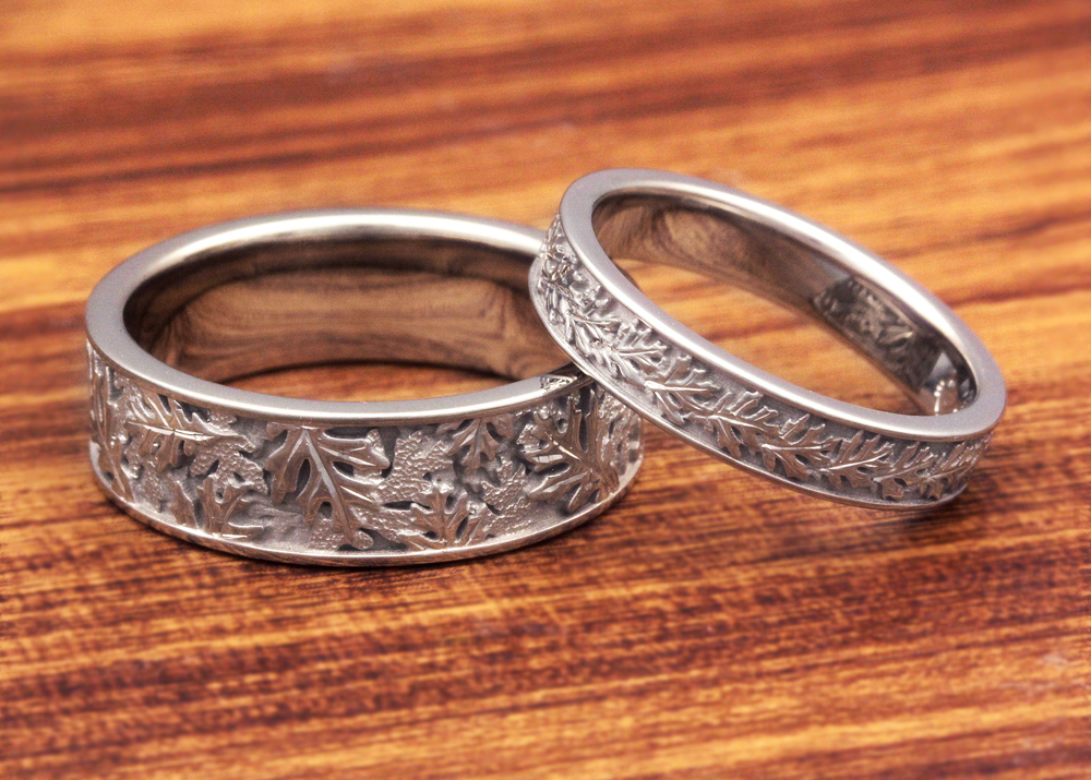 Double Click Image To Zoom His And Hers Oak Leaf Wedding Band Set