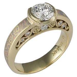 Mokume Curls Engagement Ring with Yellow Gold Liner