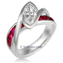 River Twist Engagement Ring with Ruby Accents