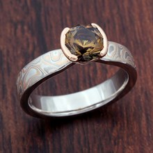 Champagne Mokume Tapered Solitaire Engagement Ring