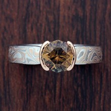 Champagne Mokume Tapered Solitaire Engagement Ring - top view