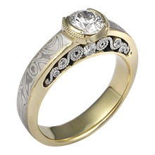 Mokume Curls Engagement Ring with White Mokume and a Yellow Gold Liner