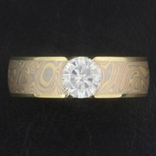 Trigold Mokume Flush Stone Solitaire Engagement Ring - top view