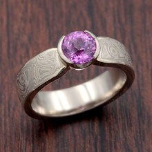 Mokume Solitaire Tapered Engagement Ring with Pink Sapphire