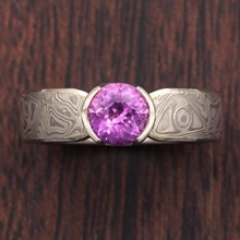 Mokume Solitaire Tapered Engagement Ring with Pink Sapphire - top view