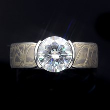 Winter Mokume Solitaire Tapered Engagement Ring - top view