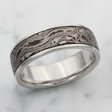 Black and White Wedding Band with Darkened Groove
