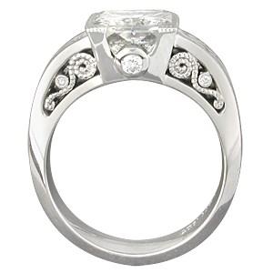 Mokume Curls Engagement with Princess-Cut Diamond
