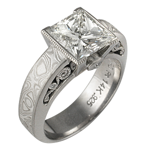 Mokume Curls Engagement  with Princess-Cut Diamond