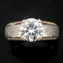 Iced Platinum Juicy Light Engagement Ring - top view