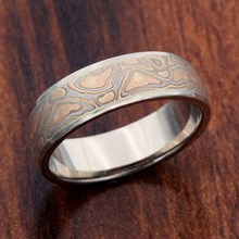 Champagne Mokume Band with 18k White Gold Liner