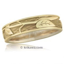 Branch and Leaf Wedding Band with Rails