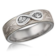 Mokume Diamond Infinity Band