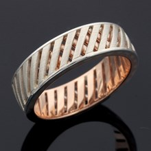 Lattice Work Wedding Band in Sterling Silver and Rose Gold