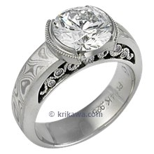 Mokume Curls Engagement Ring with a Large Round Diamond