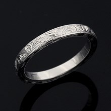 Hand Engraved Swirl Wedding Band in Palladium