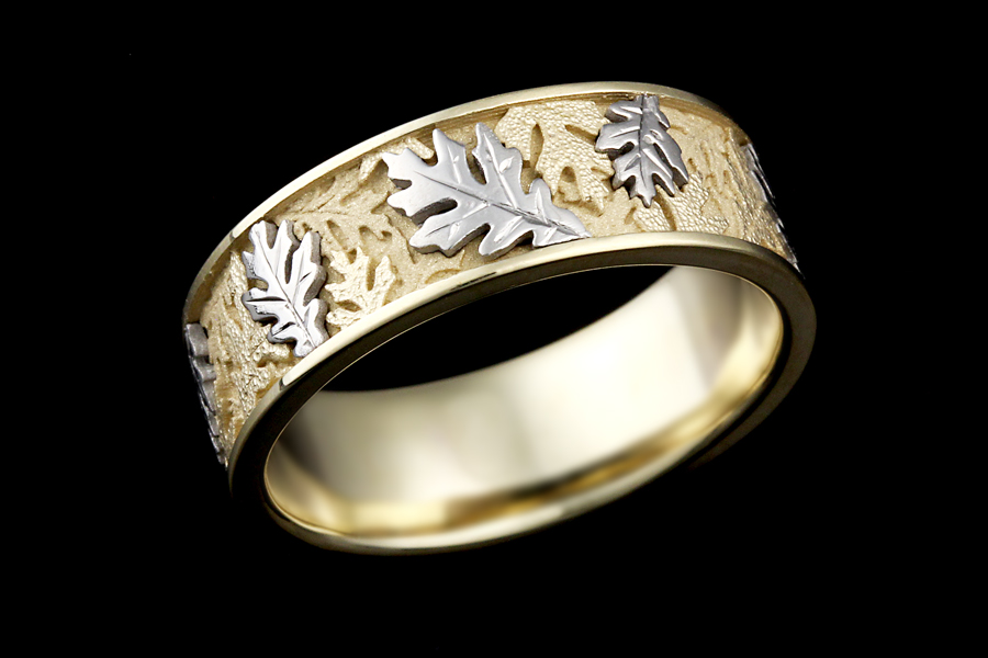 two tone oak leaf wedding band in 14k white gold with palladium accent leaves - Leaf Wedding Ring