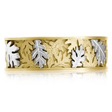 Two Tone Oak Leaf Wedding Band - top view