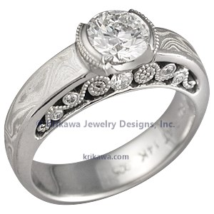 Mokume Curls Engagement Ring with Etched Platinum