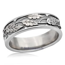 Rose Leaf Wedding Band